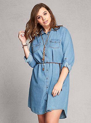 Plus Size Denim Shirt Dress Medium Wash Lovesick Pinterest
