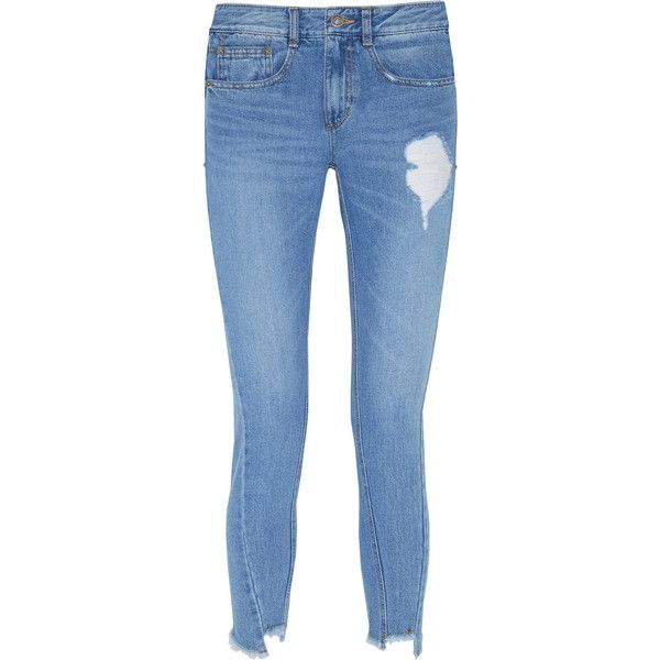 Steve J & Yoni P Distressed straight-leg jeans ($155) ❤ liked on Polyvore featuring jeans, pants, bottoms, panel jeans, destructed jeans, leather patch jeans, torn jeans and distressed jeans