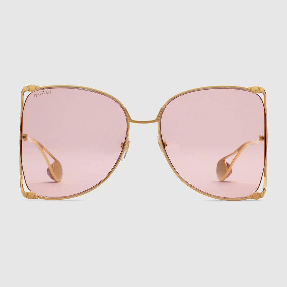 380da3664bc Oversize round-frame metal sunglasses
