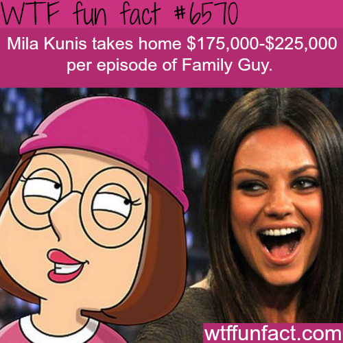 How Much Mila Kunis Gets Paid For Voicing Meg Wtf Fun Facts Wtf Fun Facts Fun Facts Wow Facts