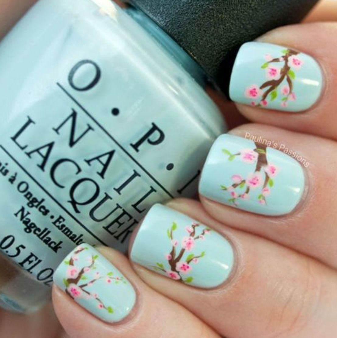 Cute Mint Japanese Cherry Blossom Nails | Nail Ideas ...