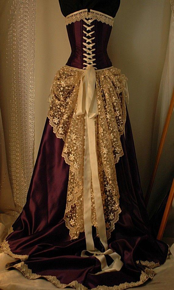 Custom made antique cream and cadbury purple corset gown for Steampunk corset wedding dress