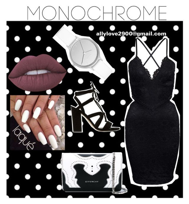 """""""black&white"""" by allylove2900 ❤ liked on Polyvore featuring Dune, Givenchy, Skagen, Lime Crime and monochrome"""