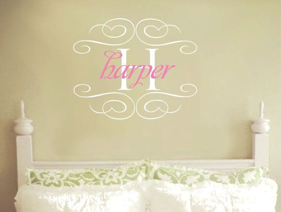 Girl Name Wall Decals Nursery Monogram Heart Decals Personalized ...