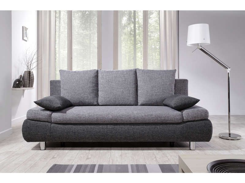 Canap convertible 3 places noah coloris gris anthracite for Canape 3 places tissu gris