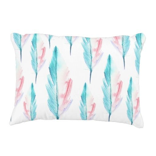 Teal and Coral Watercolor Feather Accent Pillow