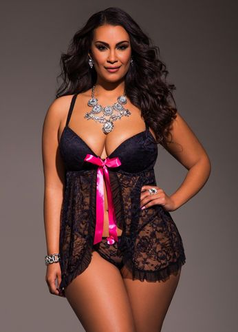350e3594f43 Allover Lace Baby Doll  plussize  plussizelingerie  sexylingerie Fat Girl  Fashion