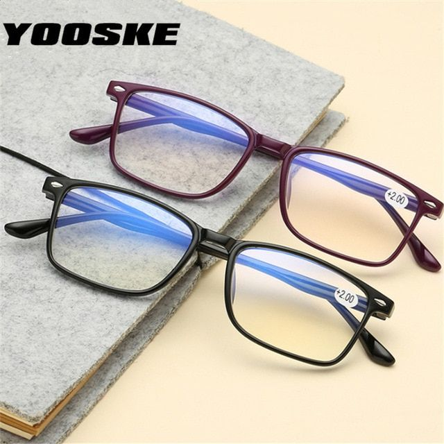 d6c360af81bf YOOSKE Blue Film Reading Glasses Men Women Read glasses Diopter 2.0  Presbyopic glasses 1.0 1.5 2.0 2.5 3.0 Review