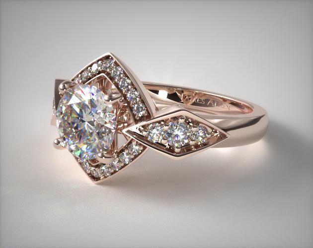 Art Deco Geometric Diamond Engagement Ring