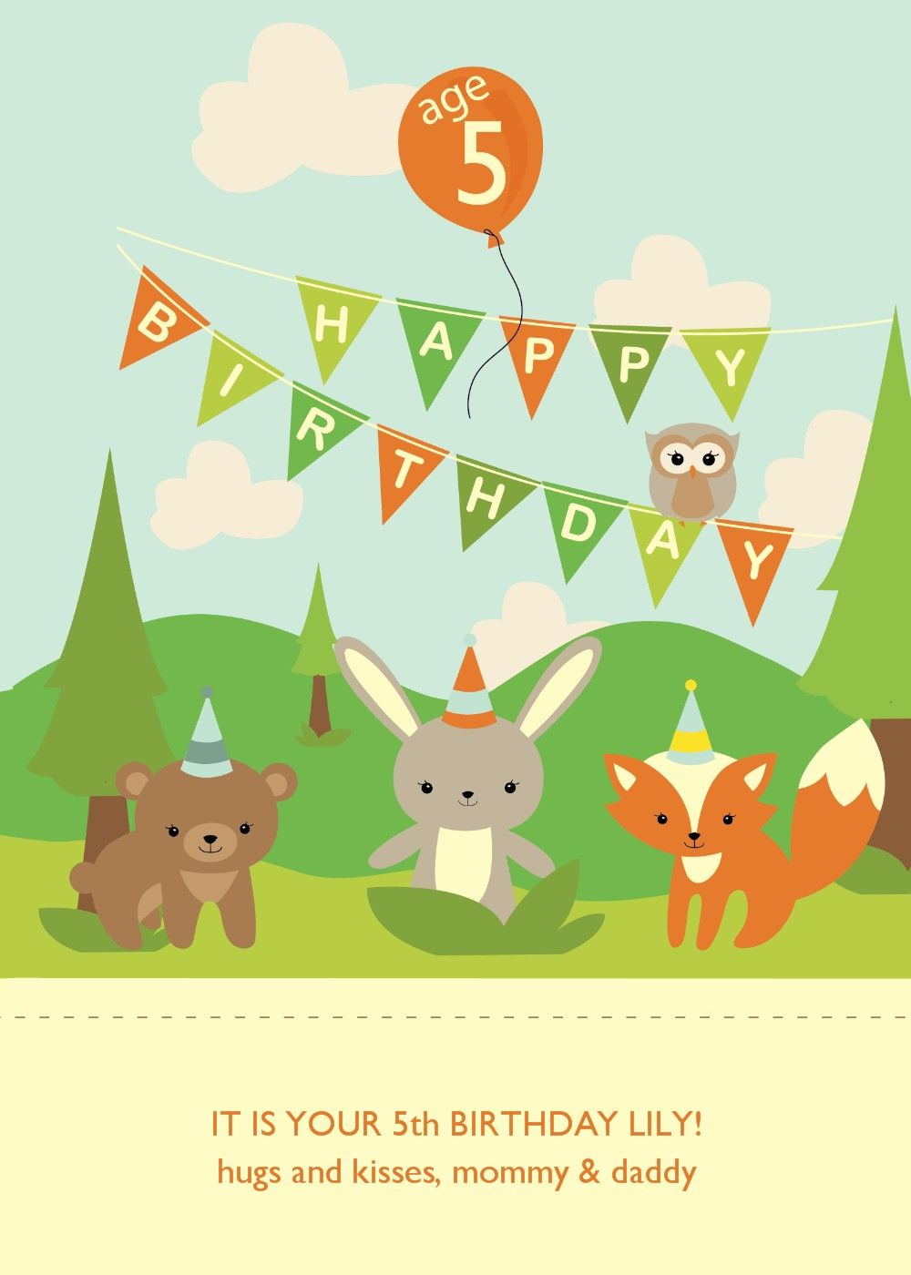woodland animals birthday card lilys 3rd birthday pinterest