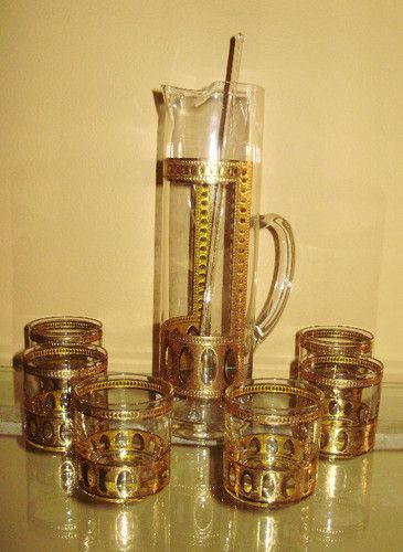 7a5d3c62c5d8 Retro Culver Antigua Barware Set w 6 SM Glasses Pitcher Stirrer ...