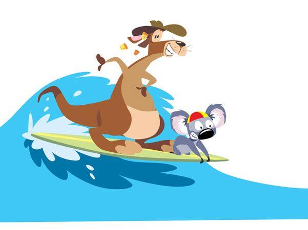 Christmas Kangaroo Cartoon.Surfing Kangaroo And Koala Cartoon Pics Cartoon Pics