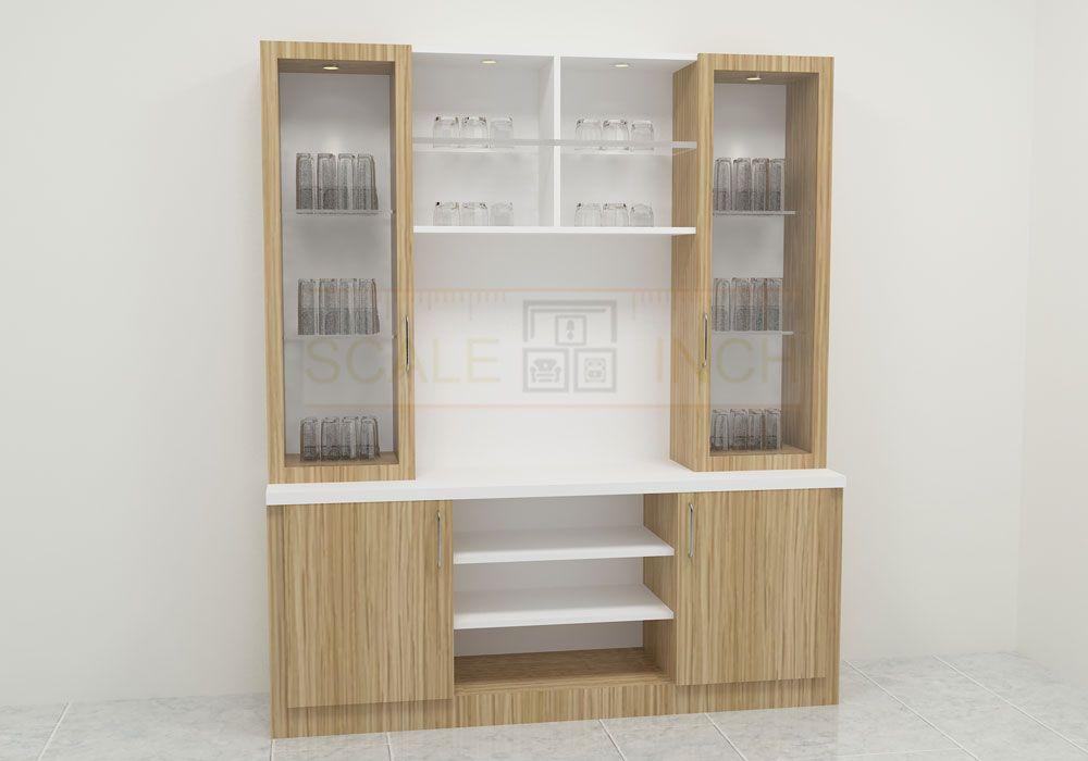 Beautiful Crockery Unit Made Up Of Plywood With Laminate Finish