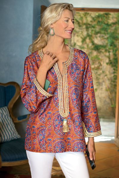 0fa0c6b481ae Our Moroccan Tunic has shimmering metallic braid details with a shimmering  gold tassel. So pretty and so fun!