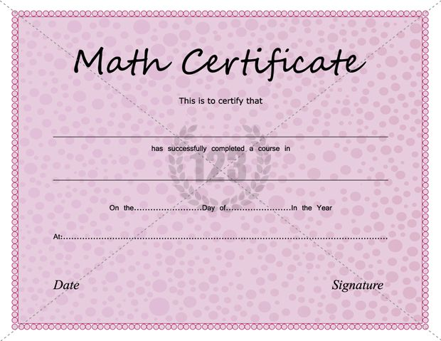 Great Math Certificates Template for You - 123Certificate - birth certificate template for school project