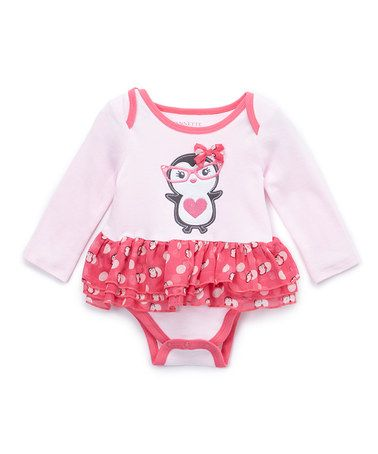 Look what I found on #zulily! Pink Penguin Ruffle Bodysuit - Infant #zulilyfinds