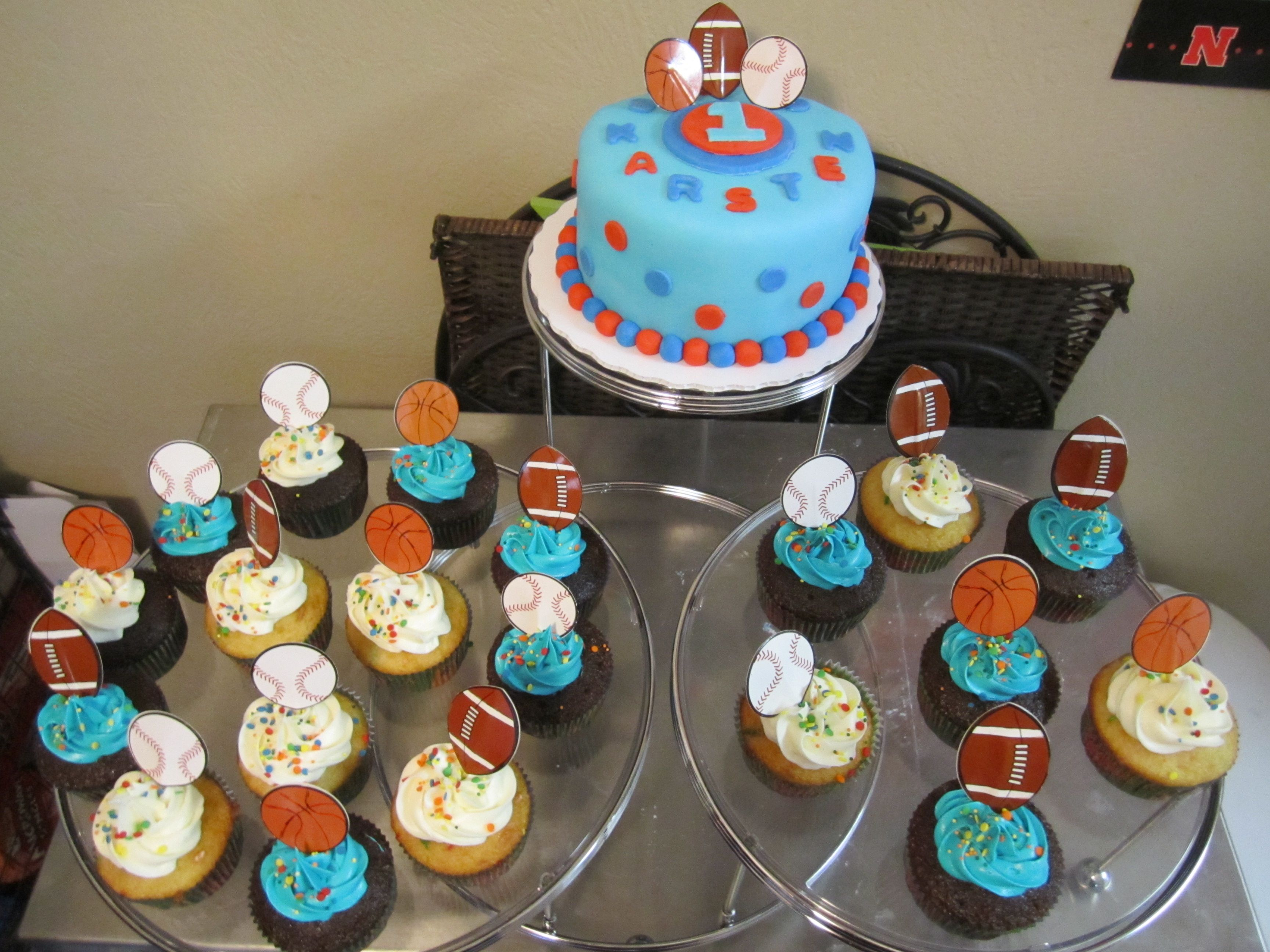 1st Birthday Sports Theme CupcakesCakes Pinterest Birthdays