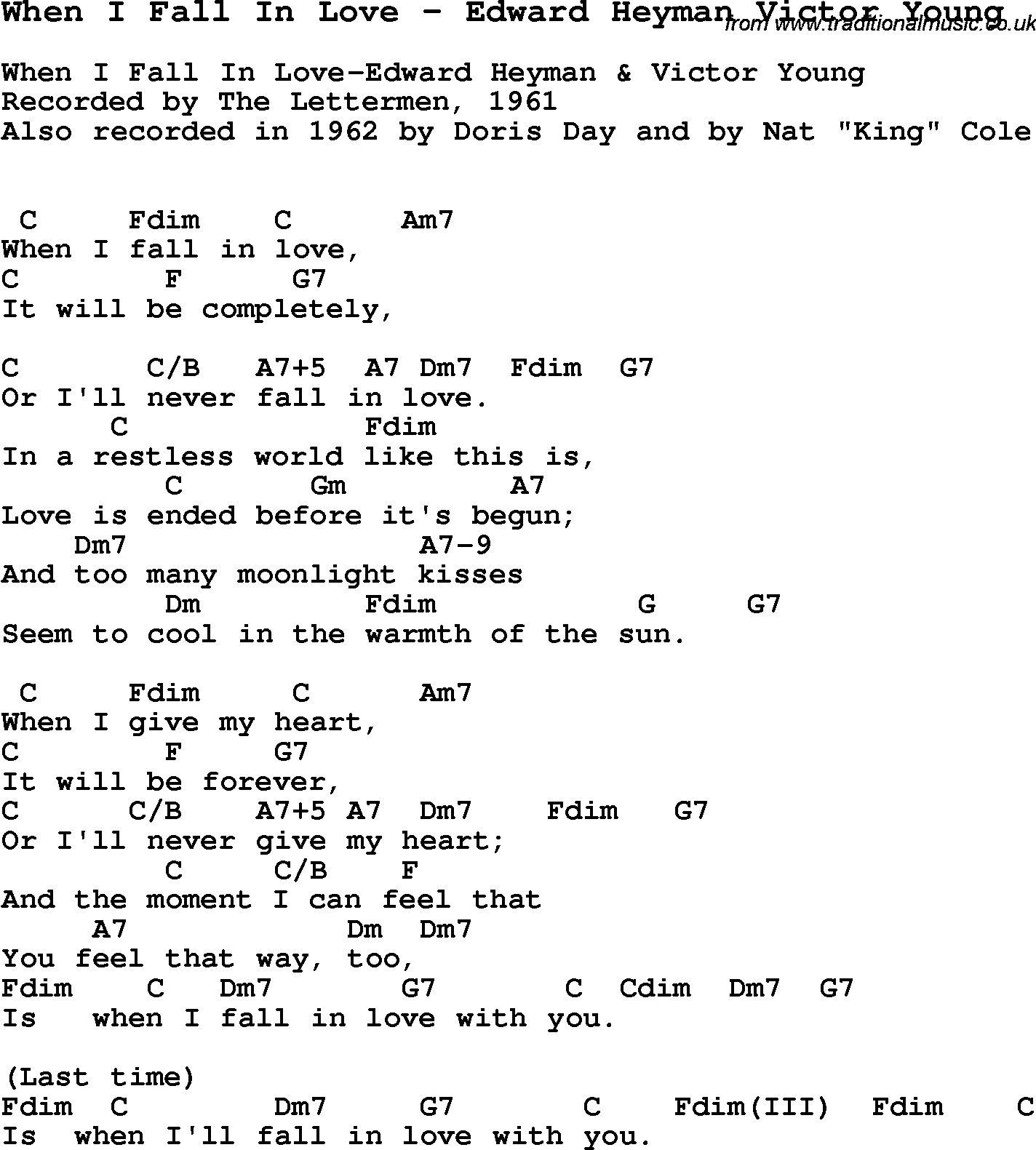 Song when i fall in love by edward heyman victor young with song when i fall in love by edward heyman victor young song lyric for vocal performance plus accompaniment chords for ukulele guitar banjo etc hexwebz Choice Image