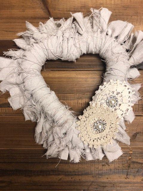 DIY Heart Rag Wreath - The Shabby Tree
