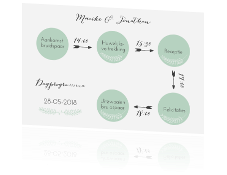 Trendy mintgroen programmakaartje met kleine details