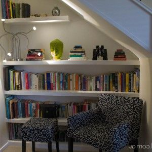 Wall Shelves And Seating Spot Under The Stairs , Creative Interior Design  Under Stairs Ideas In