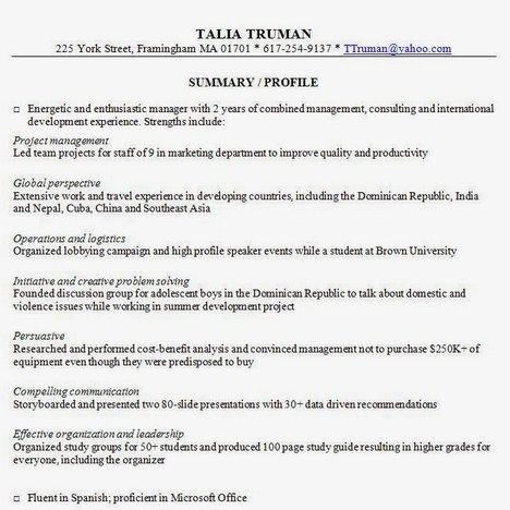 Sample Resume Summary Resume Summary Examples  Httpgetresumetemplate3763