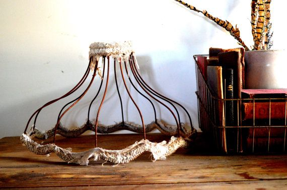 Rusty Old Wire Lampshade Shabby Chic Lamp Shade by grasshoppercafe, $20.00
