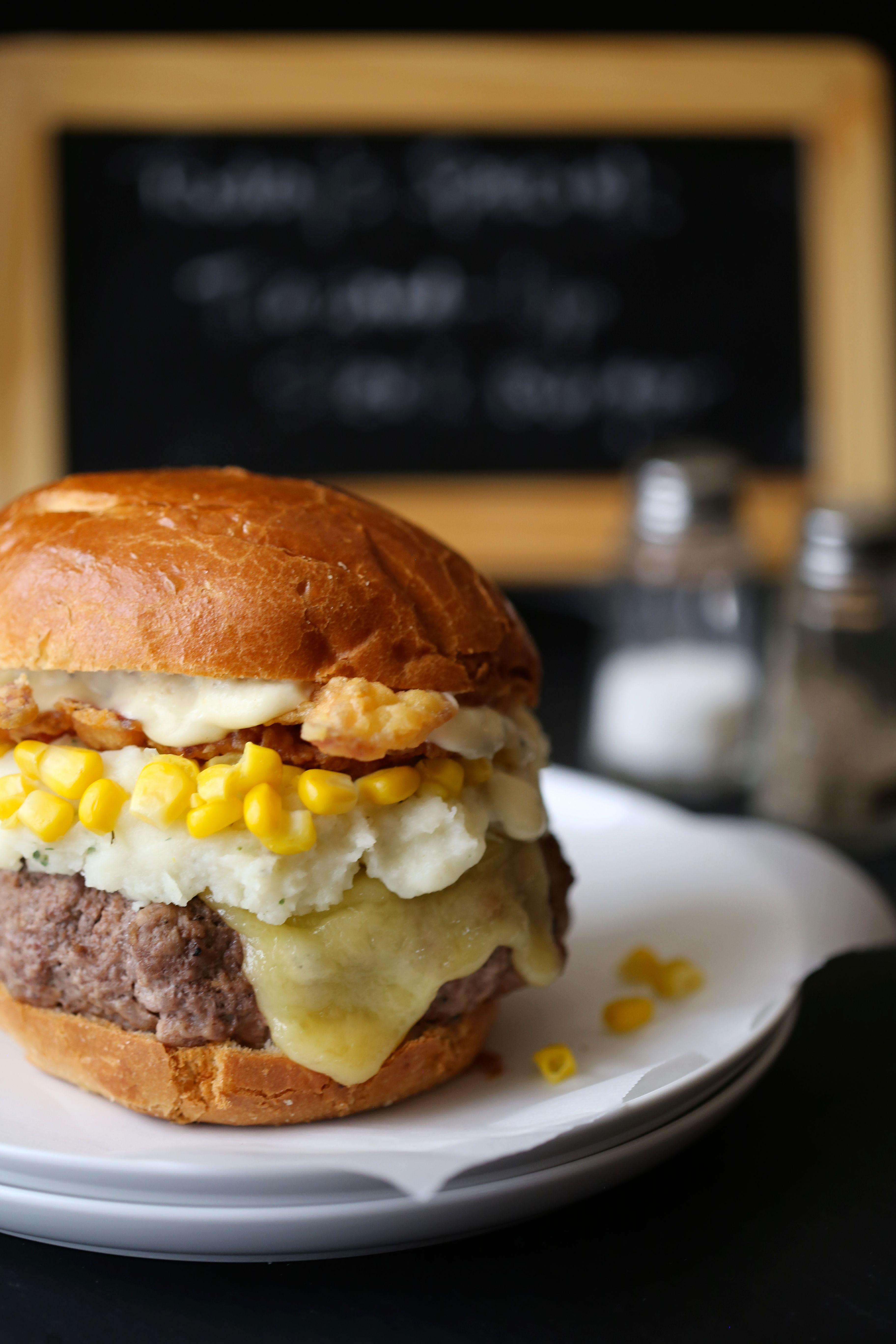 Climbing Grier Mountain Trashed-Up Steak Burger with Chicken Fried Bacon & Dijon Gravy - Climbing Grier Mountain