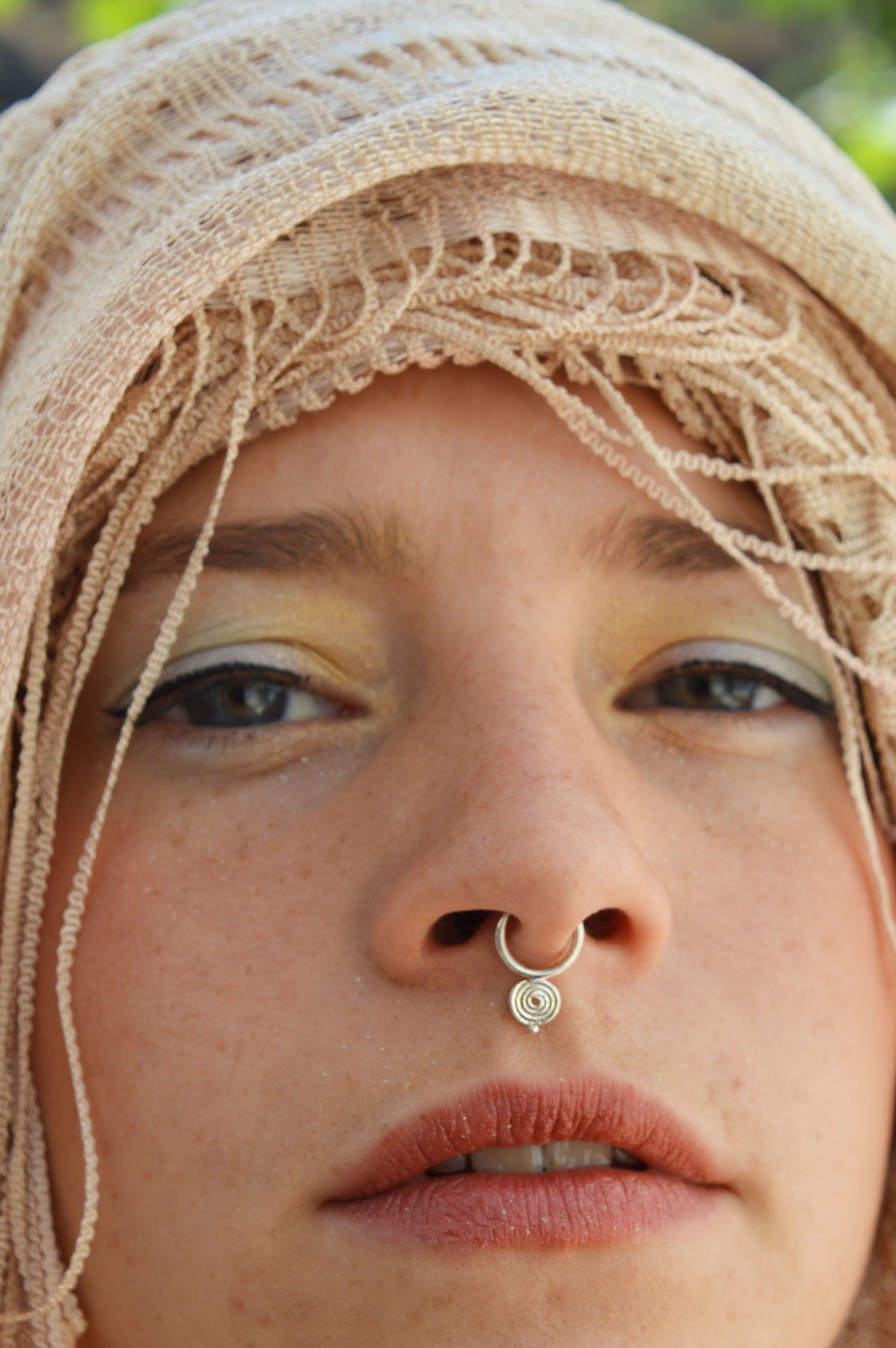spiral helix tragus piercing nostril ring Silver septum nose ring septum piercing Tribal Septum ring earrings spiritual jewellery