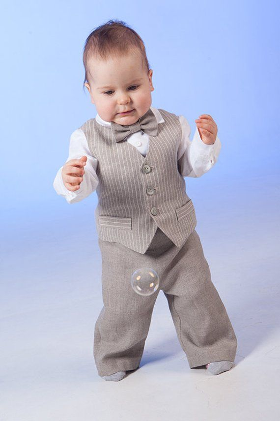 7bc4abd40 Baby boy ring bearer outfit boy linen suit baptism natural clothes first  birthday rustic wedding bea