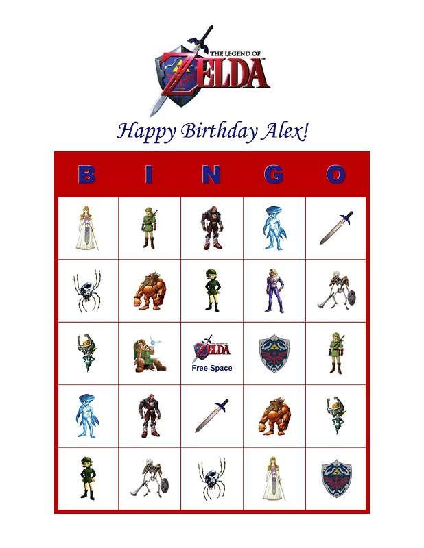 Zelda Birthday Party Game Personalized Bingo Cards | eBay