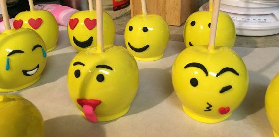 6 Emoji Candy Apples by SweetEdiblesLLC on Etsy