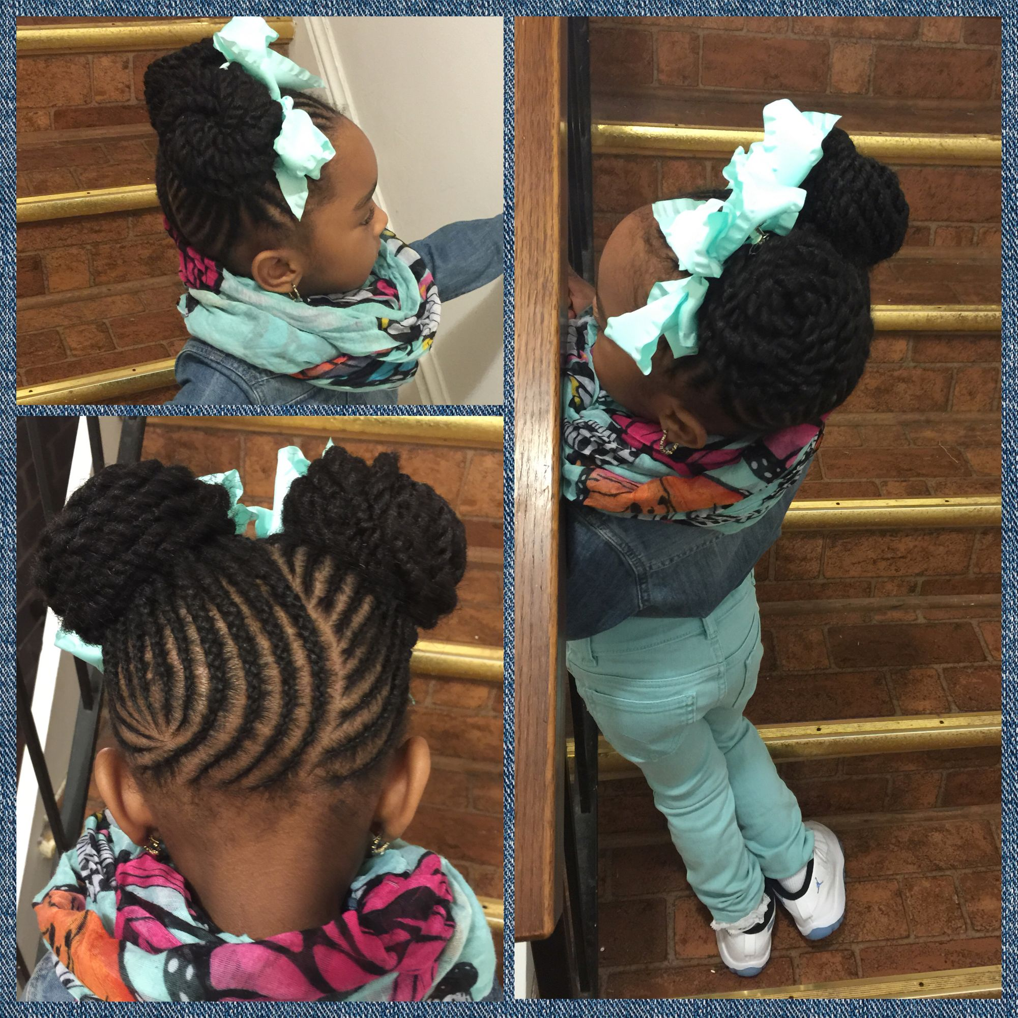Very cute double bun hairstyle done on natural hair! Love the ...