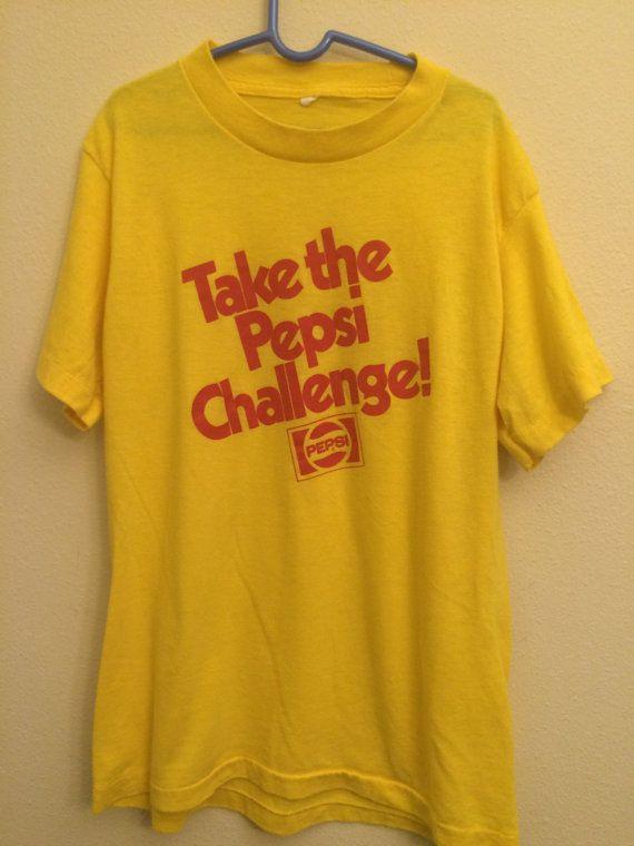 b76dd70a 1980s Pepsi Challenge Tshirt Yellow Authentic Vintage T shirt 1975 Pepsi  Challenge Introduced Childr