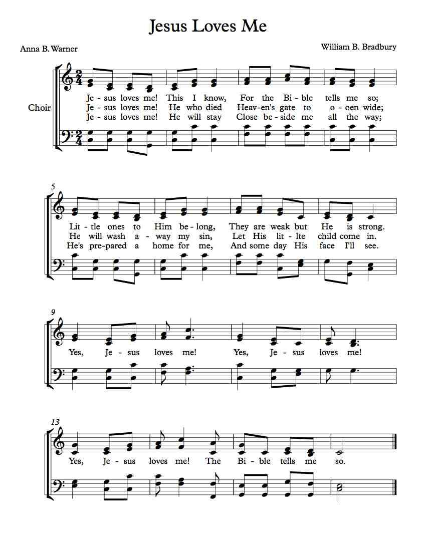 Free Choir Sheet Music Jesus Loves Me With Images Jesus Loves