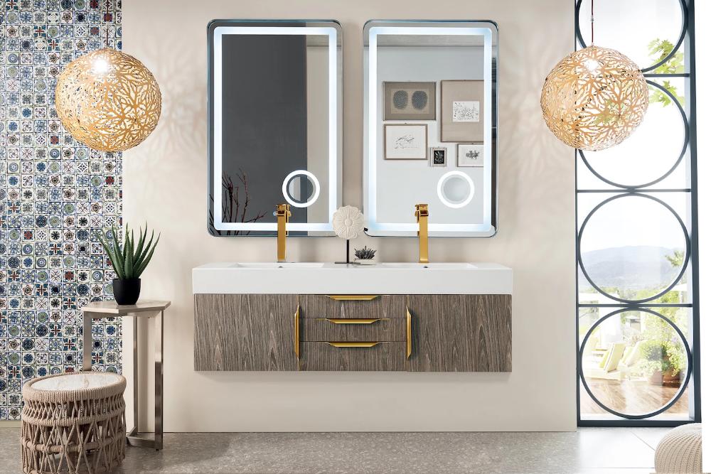 59 Mercer Island Double Sink Bathroom Vanity Ash Gray W Radiant