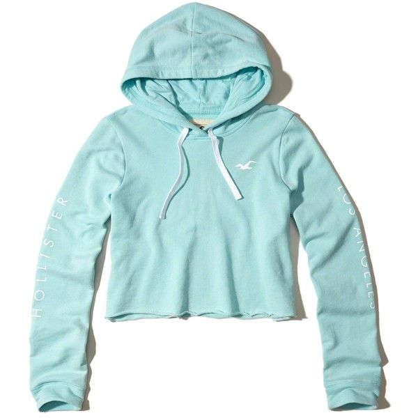hollister logo graphic cropped hoodie 35 liked on