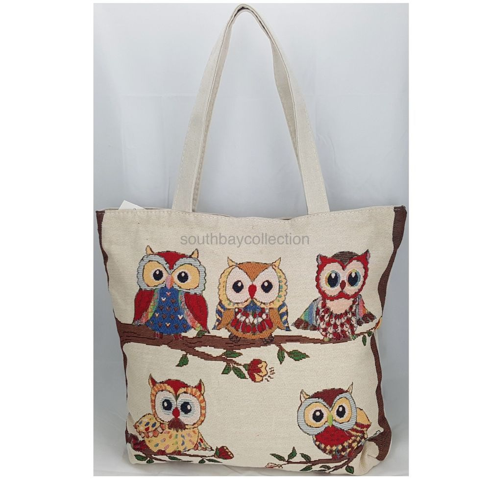 Canvas tote bags on wheels - Details About Owl Family Large Canvas Tote Bag With Lining Zippered Natural Tapestry