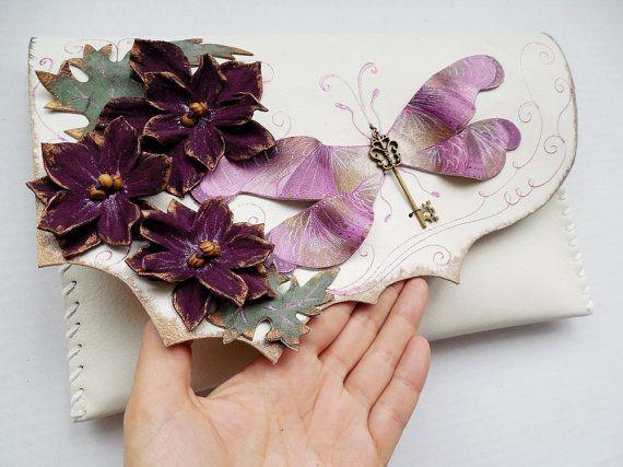 Purple Dragonfly bag Purple Flowers purse Unique by spiculdegrau