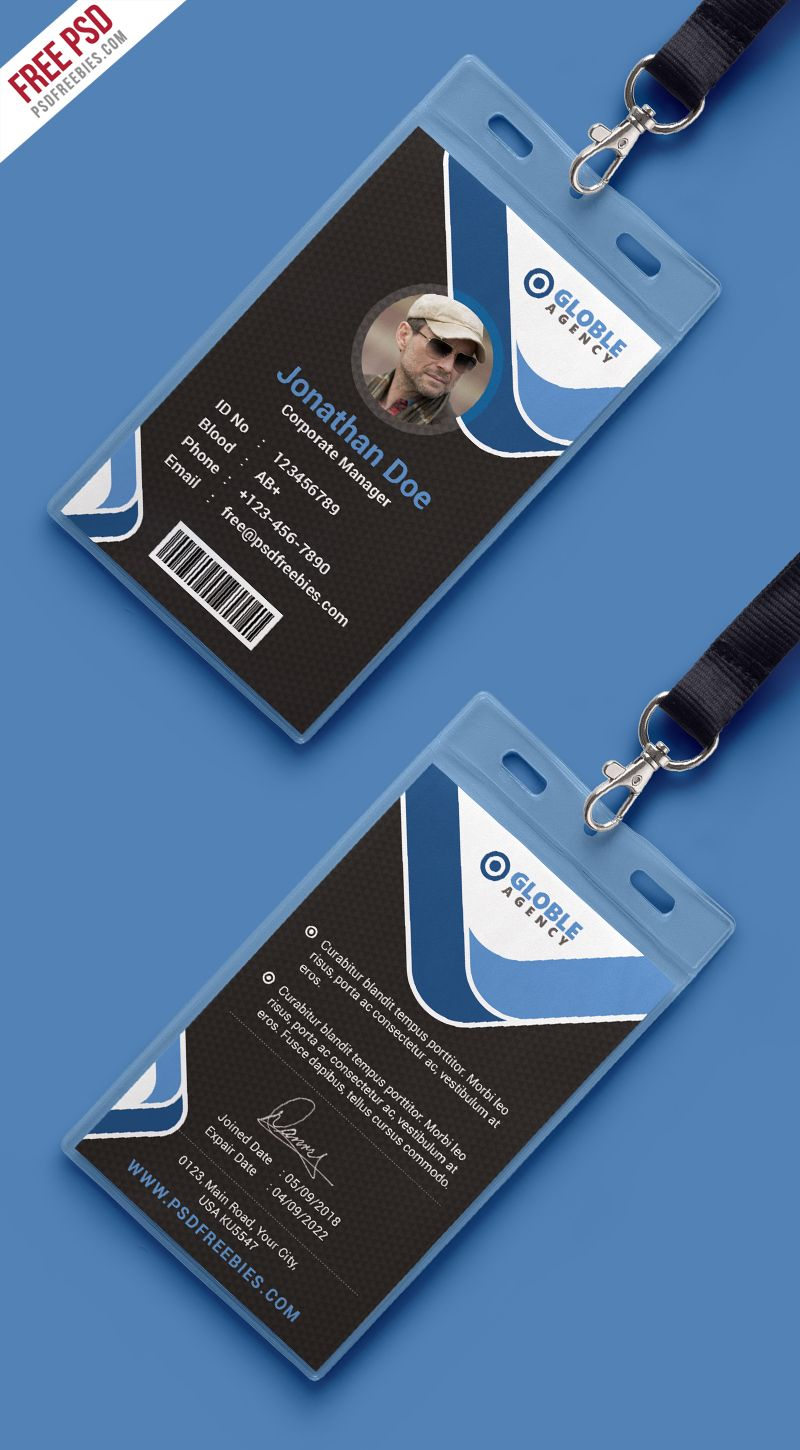 Multipurpose Dark Office ID Card Free PSD Template | Tarjetas de ...