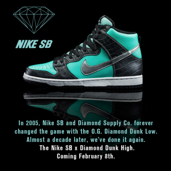 175ec1ba59 Nike SB Dunk High x Diamond Supply Co Tiffany Release Date Confirmed ...