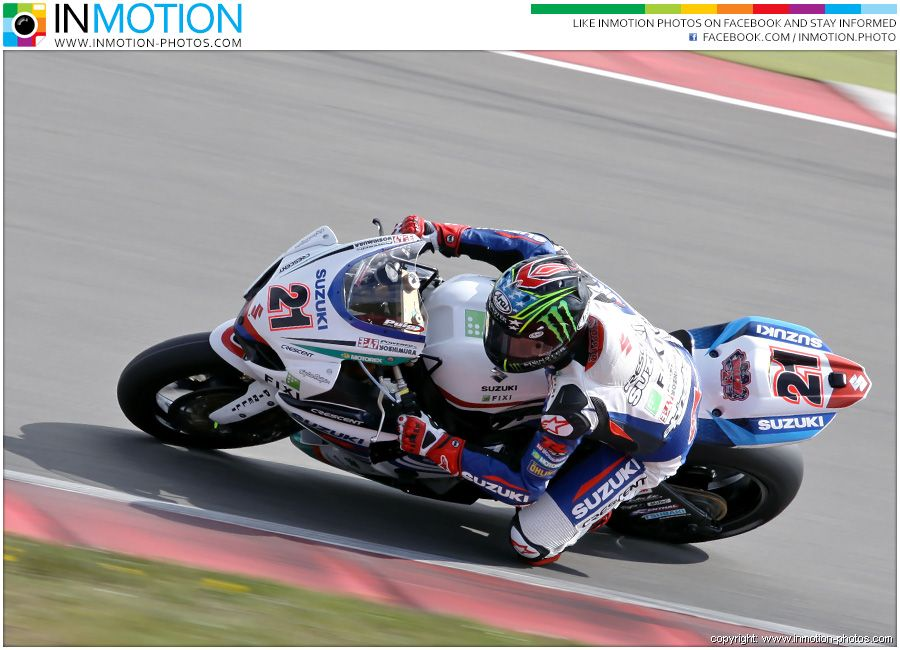 John Hopkins in action on behalf of his team FIXI Crescent Suzuki with his Suzuki GSX-R1000 on the Assen circuit. More at www.inmotion-photos.com