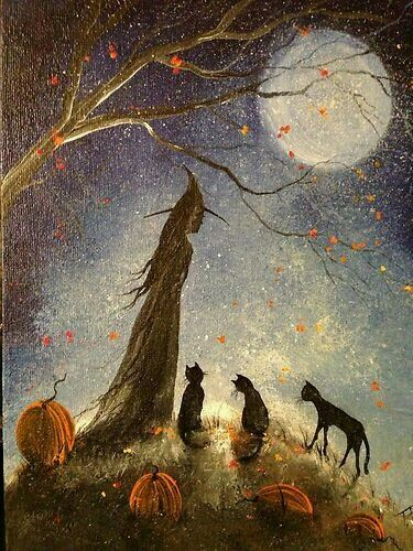 Folk Art Halloween Cats and Witches A Magical History,Cross Stitch Pattern