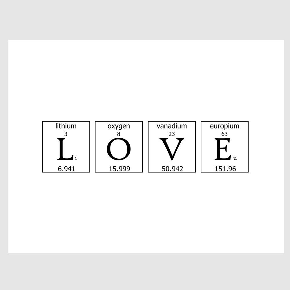 Geeky romance periodic table love quote paper print in by for Table quotes