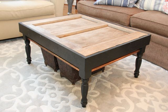 Old door repurposed into a coffee table