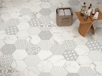 wand und bodenbelag mit marmor effekt marbletech white hexagon ceramica tile pinterest. Black Bedroom Furniture Sets. Home Design Ideas