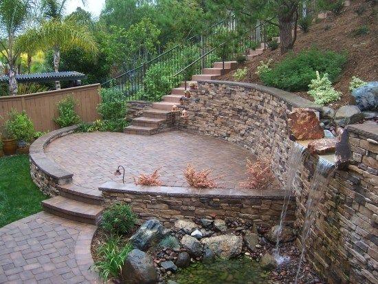 Gartenmauer Hangbefestigung Terrasse-Wasserspiele Outdoor Living - garten steinmauer wasserfall