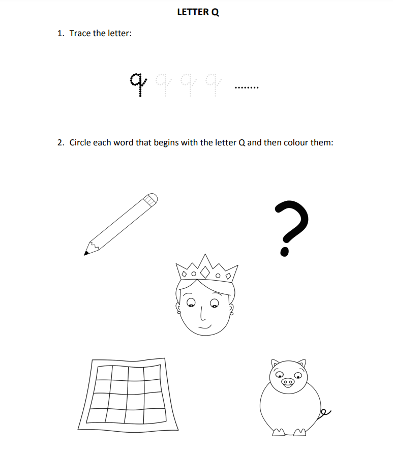 Easy And Fun Exercises To Teach Letter Q For Reception Students