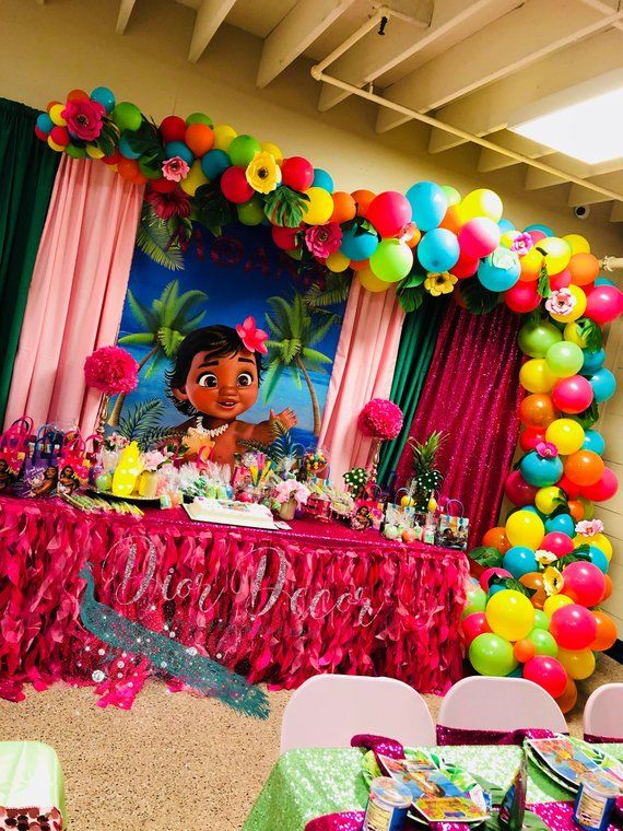 Baby Moana BackdropBaby Banner Party Digital Decor