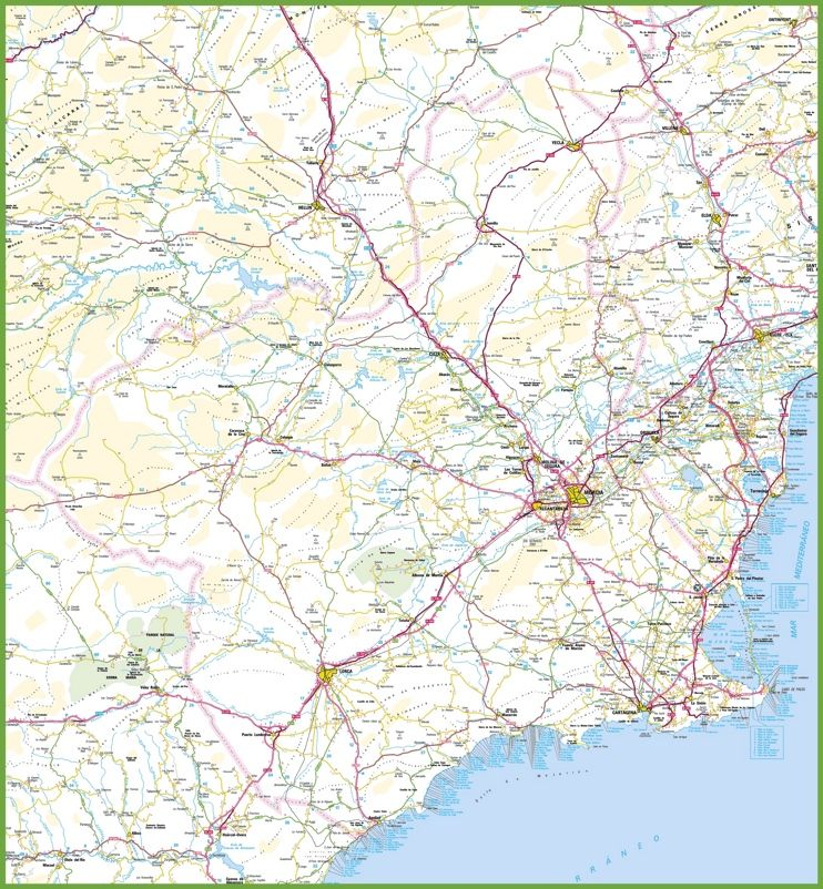 Large detailed map of region of murcia with cities and towns maps large detailed map of region of murcia with cities and towns gumiabroncs Image collections